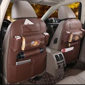 กระเป๋าจัดระเบียบ จัดเก็บหลังเบาะ ในรถ หนังคุณภาพสูง ขนาด 65 x 50 ซม. — สีน้ำตาล